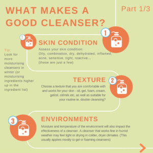 What makes a good cleanser skin condition texture environment 1