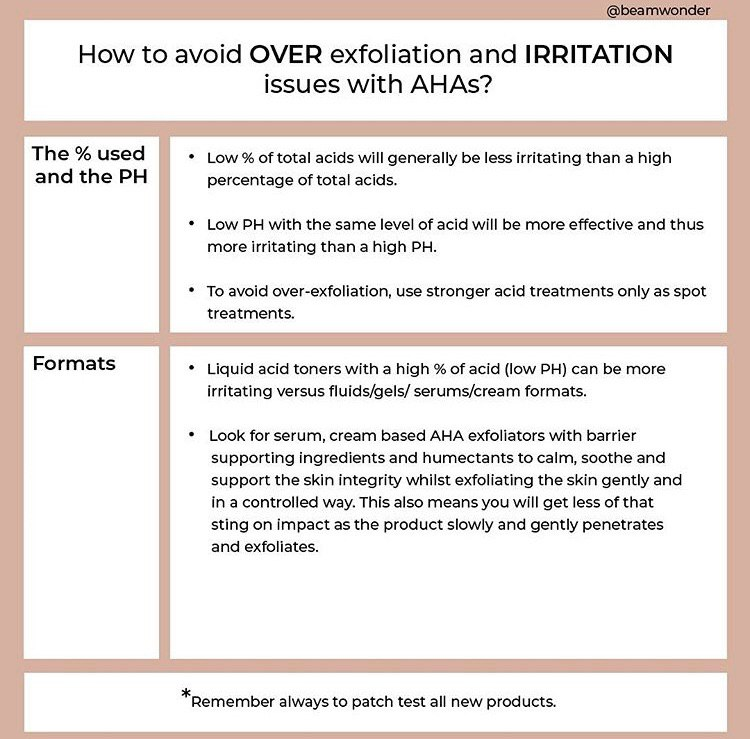 infograph of avoiding over-exfoliation and irritation issues with AHAs