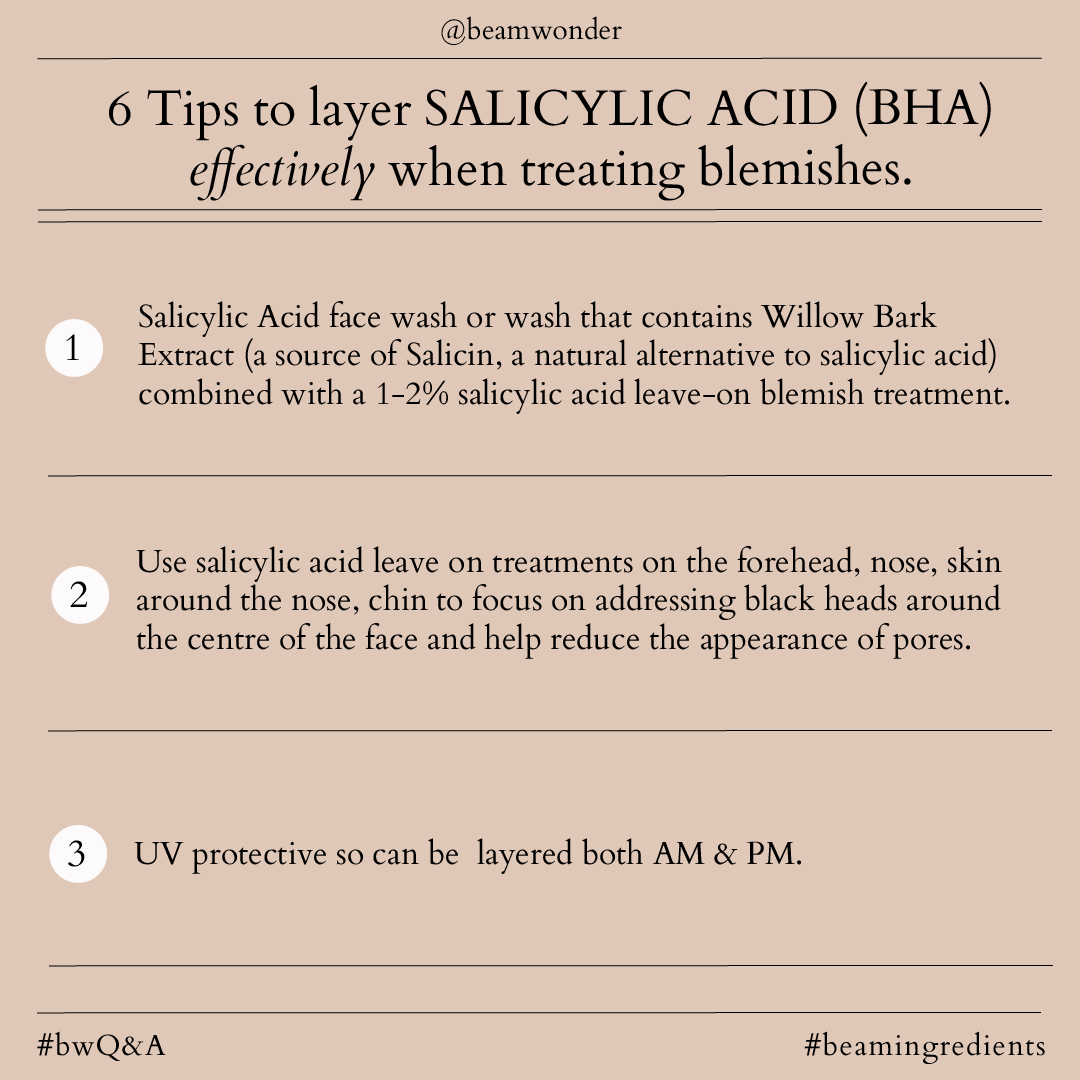 6 Tips to layer Salicylic Acid (BHA) effectively when treating blemishes